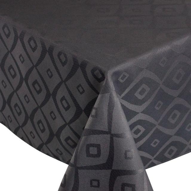 linnea nappe carr e 150x150 cm jacquard 100 polyester brunch anthracite multicolore pas. Black Bedroom Furniture Sets. Home Design Ideas