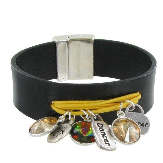 641263fda116f Les Poulettes Bijoux - Bracelet Cuir Noir Swarovski Multi Breloques et  Coton - Colors - Jaune