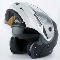 Blauer - casque intégral modulable moto scooter Sky noir mat blanc métal Xl
