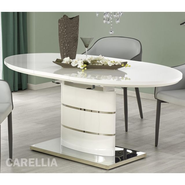 Carellia Table A Manger Ovale Extensible – L : 140 ÷ 180 Cm X P : 90 Cm X H : 76 Cm