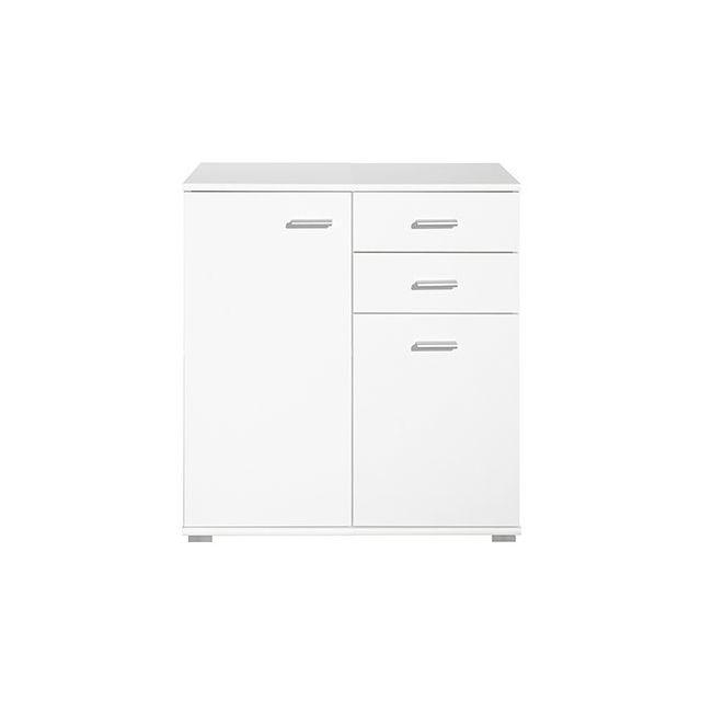 Commode 2 portes 2 tiroirs 71x75x35cm blanc