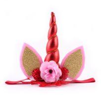 Wewoo - Bandeau Enfants Mode Belle Licorne Fleur Forme Partie Décoratif Cheveux Hoop Rouge