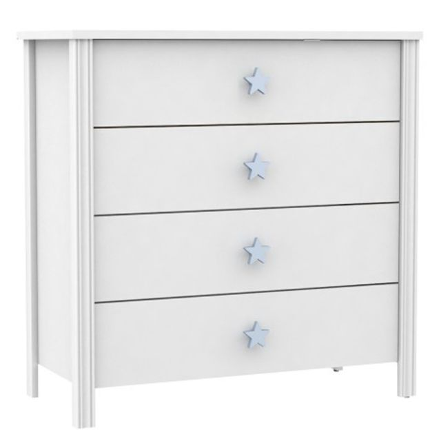 Pegane Commode enfant de 4 tiroirs, blanc/bleu - Dim : 86 x 40 x 86.5 cm