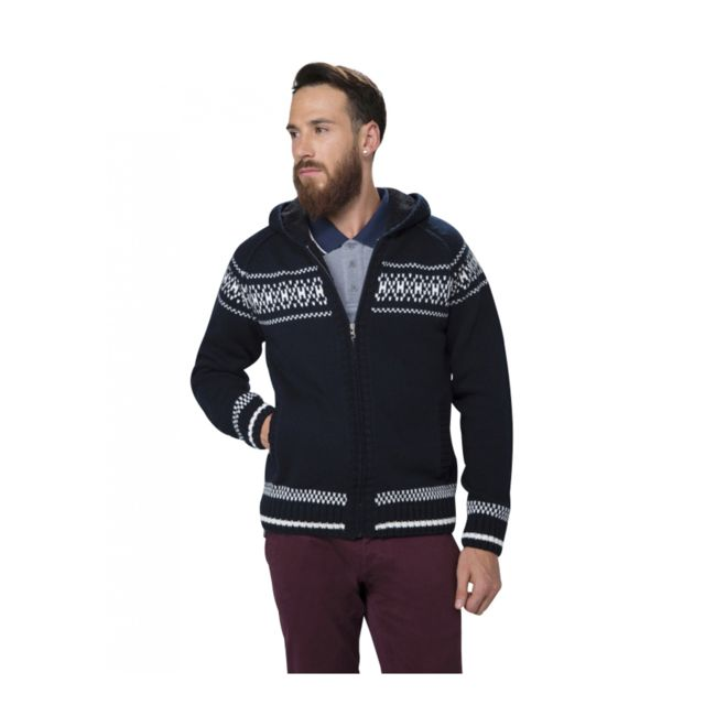 pull jacquard capuche homme