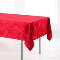 Deco-de-maison - Cdaffaires Nappe rectangle 140 x 250 cm jacquard damasse floralie Rouge