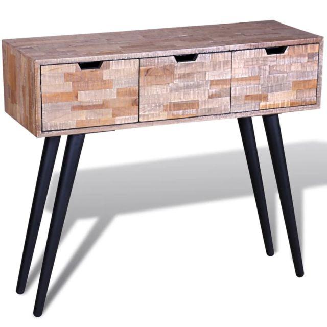Stylé Consoles ensemble Malabo Table console avec 3 tiroirs Bois de teck recyclé