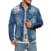 Cipobaxx - Cipo and Baxx - Veste en jean style biker délavée et déchirée