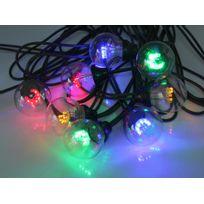 Leblanc Illumination - Guirlande extérieure guinguette 20 Led multicolores avec filament longueur 10m Tradition - Câble vert