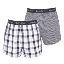 Calvin Klein - Lot de 2 caleçons en coton : 1 modèle à rayures noires et grises, 1 modèle à carreaux noirs, gris et blancs