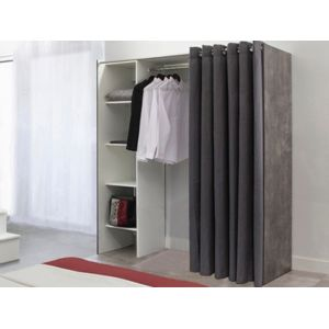 vente unique armoire dressing extensible emeric cm effet b ton et rideau. Black Bedroom Furniture Sets. Home Design Ideas