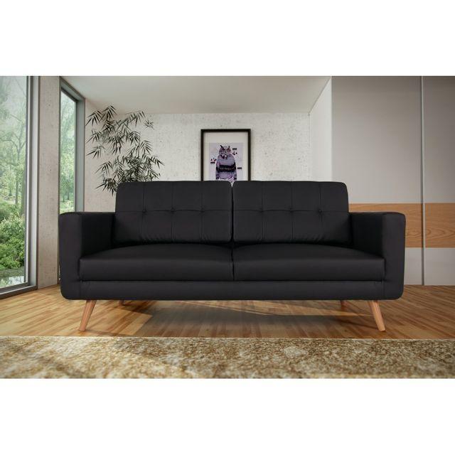 Rocambolesk Canapé fixe Hedvig 3 Pu soft 11 noir sofa divan