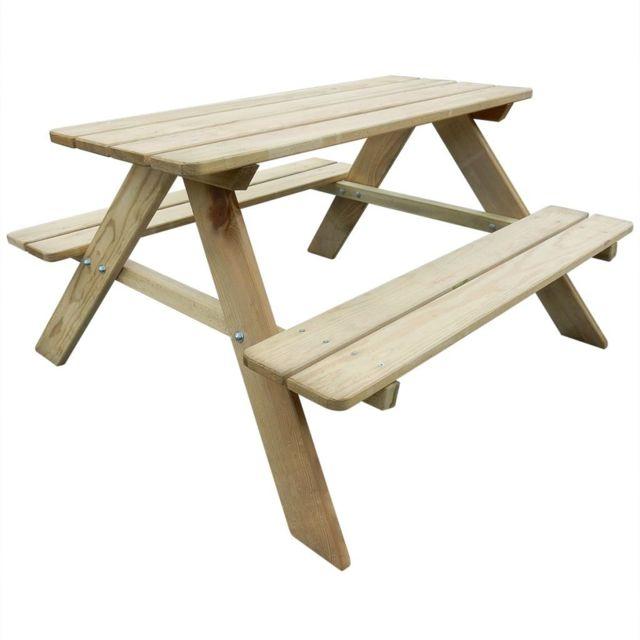 Vidaxl Table de pique-nique pour enfants 89 x 89,6 x 50,8 cm Pinède | Beige