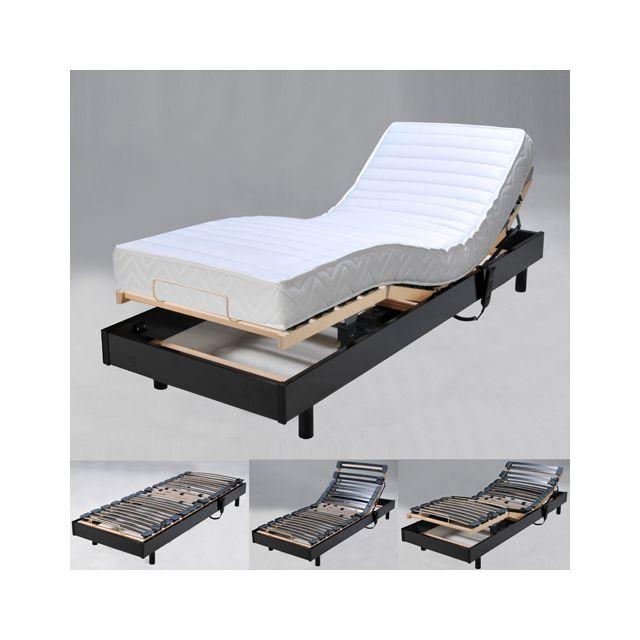no name sommier relaxation lectrique flexpur 80x200 t te et pied relevable noir pas cher. Black Bedroom Furniture Sets. Home Design Ideas