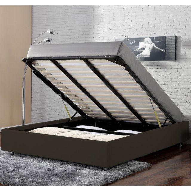 confort lit coffre clever chocolat 180x200 pas cher. Black Bedroom Furniture Sets. Home Design Ideas