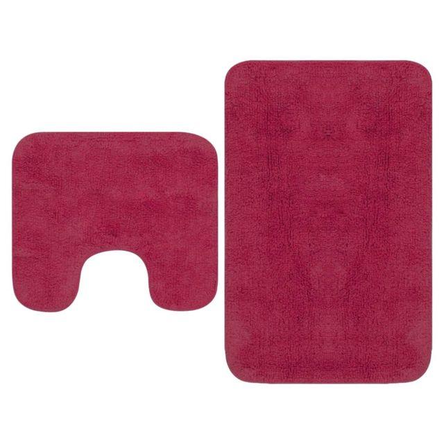 Tapis de salle de bain 2 pcs Tissu Fuchsia   Rose - Accessoires de salle de  bain - Tapis de bain et fonds de baignoire   Rose   Rose