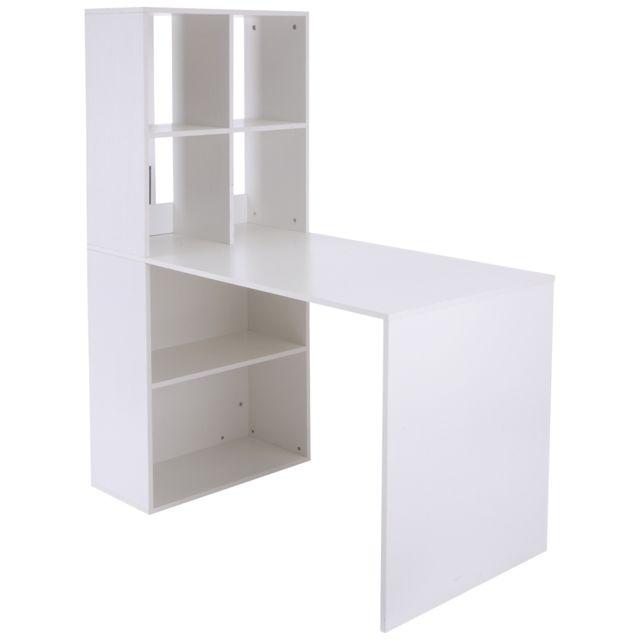 HOMCOM Bureau informatique 120L x 60l x 144H cm bibliothèque adjacente multi-rangements blanc 40WT