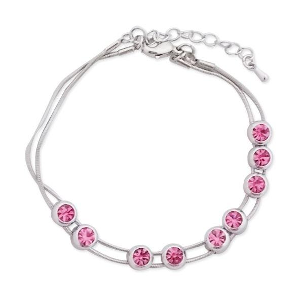 Totalcadeau - Bracelet deux cordelettes argentées et faux cristaux roses bijou  fantaisie pas cher Acier - pas cher Achat   Vente Bracelets - RueDuCommerce be2c2111d7bf