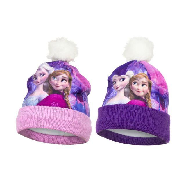 d02a9b41caa La Reine des Neiges - Bonnet avec pompon Fille Elsa et Anna - pas cher Achat    Vente Casquettes enfant - RueDuCommerce
