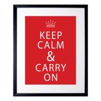 G&C Interiors - Cadre décoratif Keep Calm & Carry On en bois Mdf et verre Uk Spirit