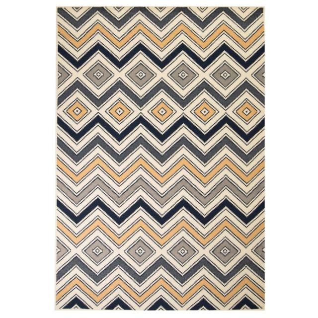 Beau Vidaxl   Tapis Moderne Design De Zigzag 120 X 170 Cm Marron/Noir/Bleu   Pas  Cher Achat / Vente Tapis   RueDuCommerce