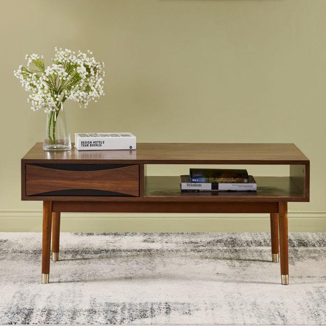 Dawson Table basse de salon en bois moderne milieu du siècle VNF-00065