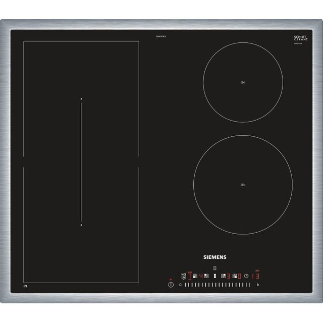 SIEMENS table de cuisson induction 60cm 4 feux 6900w noir/inox - ed645fsb1e
