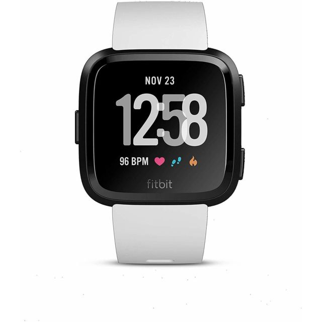 Fitbit Montre intelligente Versa Health & Fitness avec fréquence cardiaque, musique et suivi de la natation - Noir / Blanc