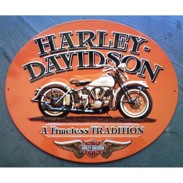 Universel Plaque Harley Davidson timeless tradition tole ovale orange