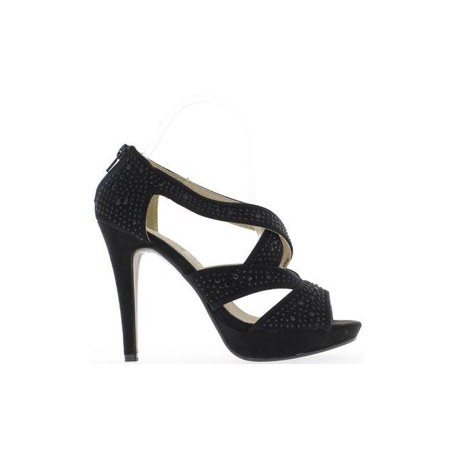 site réputé 55480 23781 Chaussmoi - Sandales noires à talons de 12 cm à plateforme ...