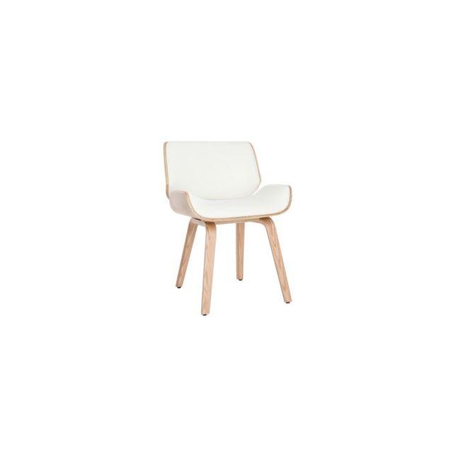 Miliboo Chaise design blanc et bois clair Rubbens