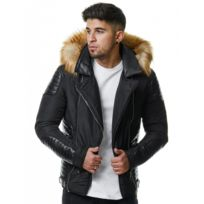 Beststyle - Blouson matelassé homme noir simili cuir fashion