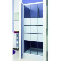 Aqua + - Paroi accès de face coulissant sérigraphié en verre trempé 90x185 cm - Missi