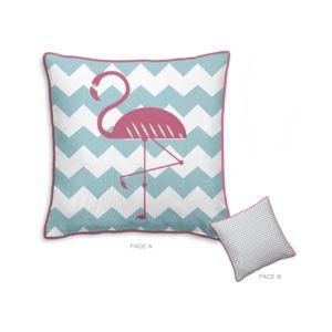 today coussin 100 coton r versible chevron flamant rose triangle bleu gris 40x40cm geometrik. Black Bedroom Furniture Sets. Home Design Ideas