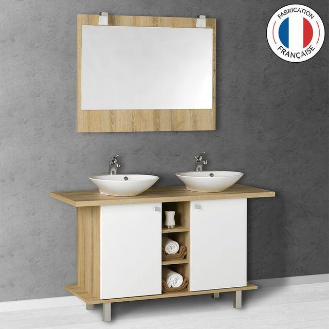 CREAZUR - Meuble salle de bain double vasque CARLA blanc 100-136 cm ...