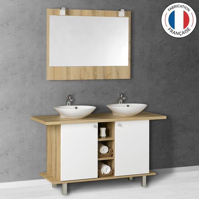 creazur meuble salle de bain double vasque carla blanc. Black Bedroom Furniture Sets. Home Design Ideas