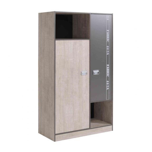 TERRE DE NUIT Armoire 2 portes enfant en bois - AR1026