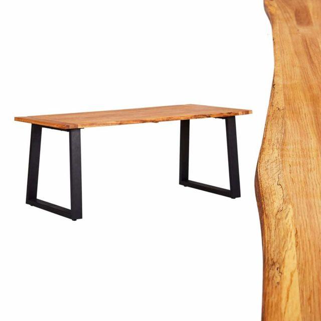 Admirable Tables ensemble Canberra Table de salle à manger Naturel 180x90x75 cm Bois chêne massif