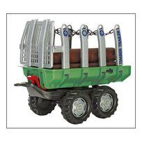 Rolly Toys - 122158 Timber Trailer, vert - Essieu-tandem, verrouillage automatique