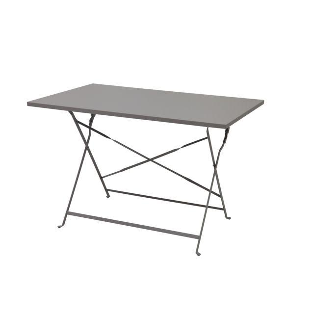 carrefour table bistrot rectangulaire taupe fse1306t 110cm x 71cm x 70cm pas cher achat. Black Bedroom Furniture Sets. Home Design Ideas
