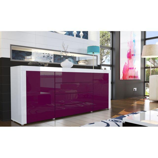 Mpc Buffet design laqué blanc / violet