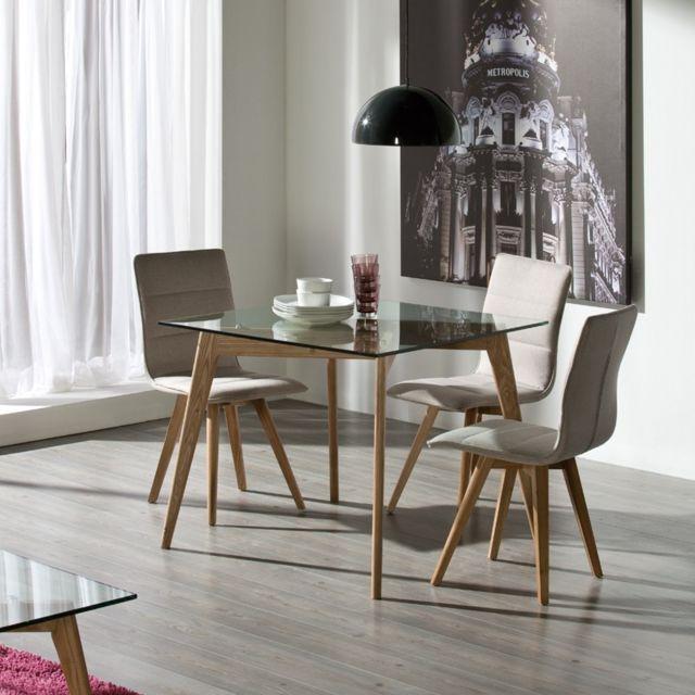 Tousmesmeubles Table de repas Carrée - Samba - L 90 x l 90 x H 76