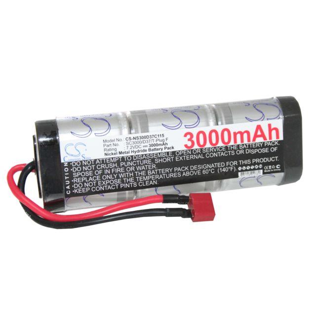 Batterie Nimh standard 3000mah 7.2v pour voiture radiocommandée