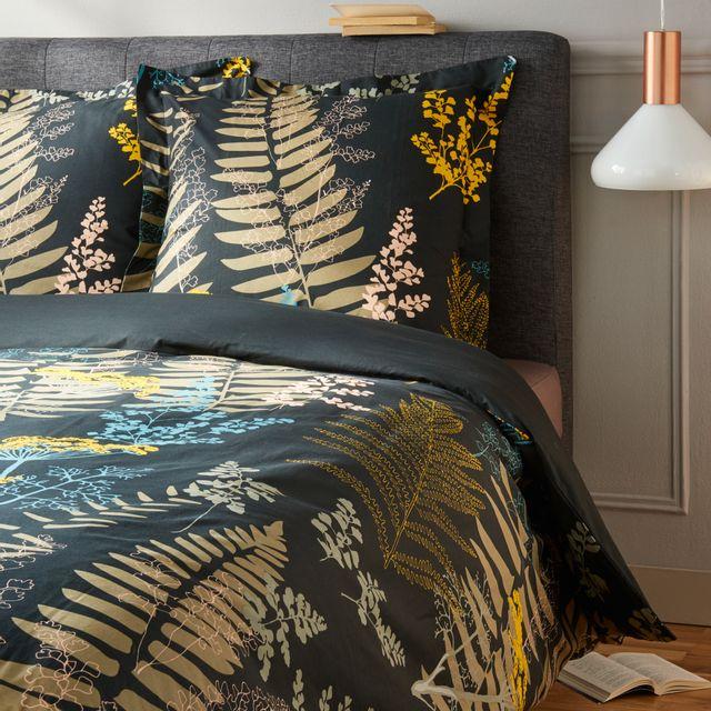 tex home parure herbier housse de couette 2 taies d 39 oreiller en coton noir pas cher achat. Black Bedroom Furniture Sets. Home Design Ideas