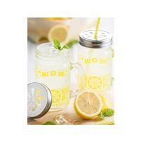 Kilner - Mugs en verre 40cl + pailles et couvercles - Coffret de 6 pièces Drinking