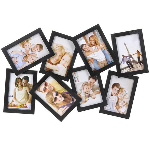 Cadre Photo Pêle Mêle Pour 8 Photos Grand Format Noir