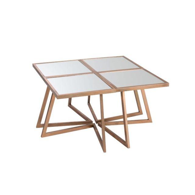 La Chaiserie Table De Salon 4 Parties Carrée Métal/Verre Cuivre modulable Jane