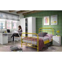 COMFORIUM - Ensemble 4 pièces pour chambre moderne avec lit 120x200 en métal jaune, chevet, armoire 3 portes et bureau coloris blanc