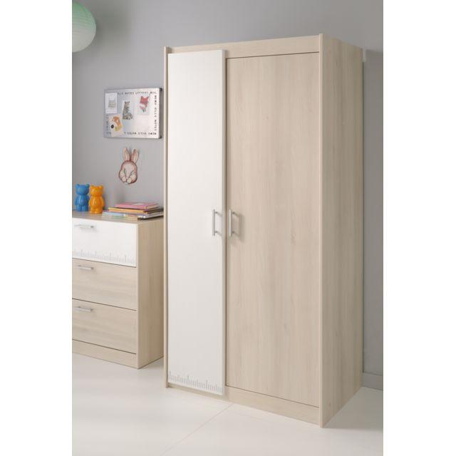 Last meubles armoire 2 portes lucky pas cher achat - Meuble penderie chambre ...