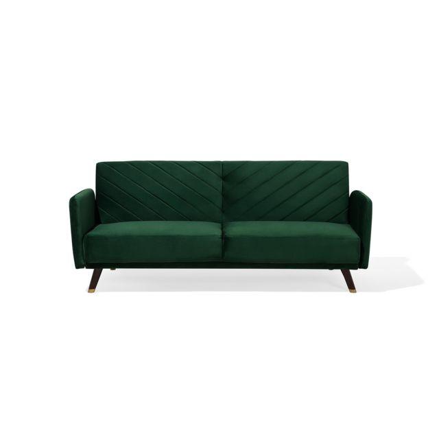 BELIANI Canapé convertible en tissu vert SENJA