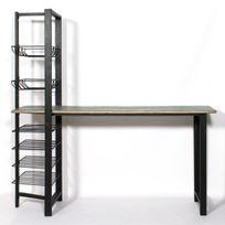 Made In Meubles - Bar industriel métal et bois | Mimbar-bois colore